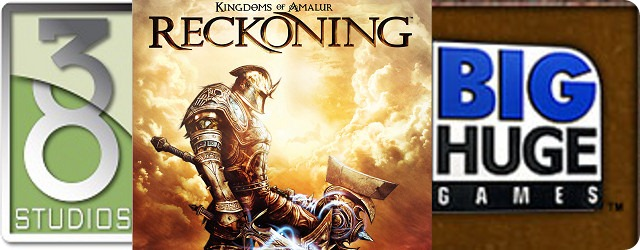 A partial cover image of Kingdoms of Amalur: Reckoning, flanked by the logos of 38 Studios, and Big Huge Games.