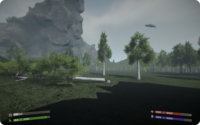 An image from the Starforge demo, showing a small valley filled with trees and surrounded by high rocks. One tree has been cut down.