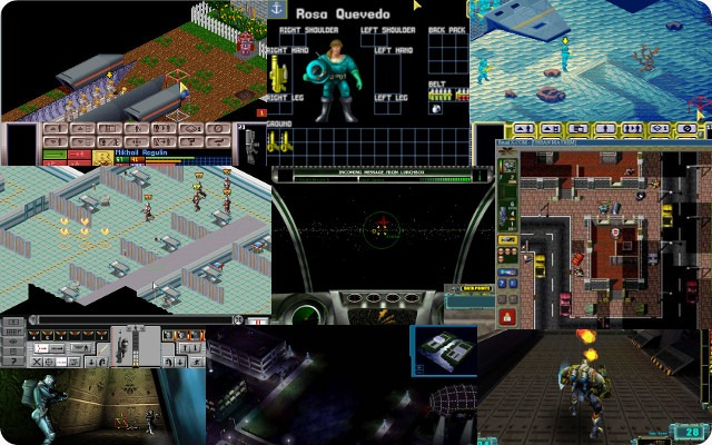 Images showing the different visual and gameplay stylings of eight different X-Com game titles.