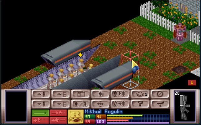 A squad of soldiers arrives at a tactical mission in UFO: Enemy Unknown, and sights an armed snakeman alien at the gate of a suburban house.