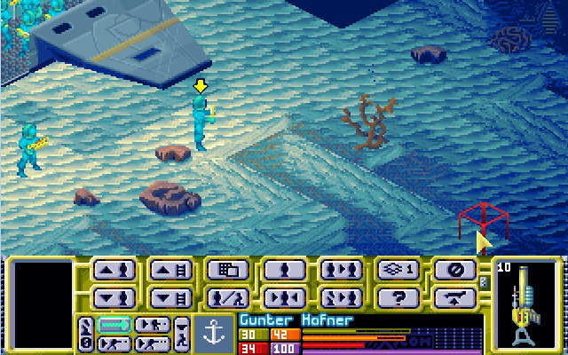 Two X-Com soldiers leave the transport and search underwater for aliens in X-Com: Terror from the Deep.