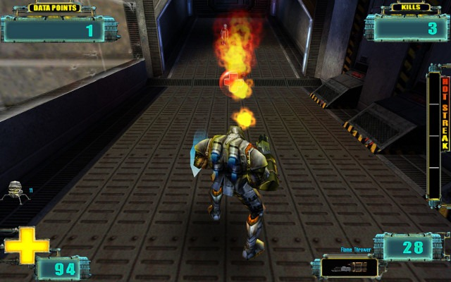 The X-Com: Enforcer android burns down a sectoid with a flamethrower while standing just in front of a health powerup.