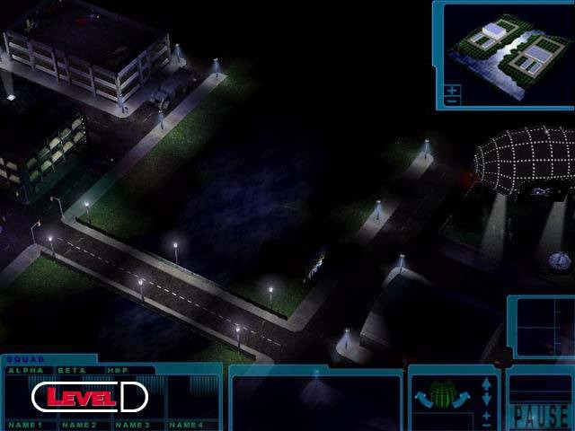 A promotional shot from the X-Com: Genesis RTS, showing a zoomed-out 3D perspective view of some buildings, a blimp and a road across a river, at night.