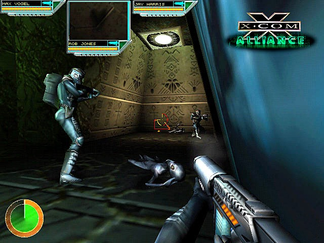 A squad of X-Com soldiers from the GSC Patton search an alien building for clues, technology and information, in the ill-fated X-Com: Alliance.