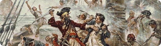 Capture of the Pirate, Blackbeard, 1718 depicting the battle between Blackbeard the Pirate and Lieutenant Maynard in Ocracoke Bay (cropped)