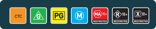 "An image of each of the Australian Classification Markers, from left to right, ""Check the Classification"",""G"",""PG"",""M"",""MA15+"",""R18+"",""X18+"""