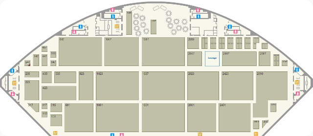 An overhead map of the South Hall of the E3 Expo at the Los Angeles Convention Center