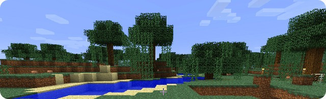 A scene from Minecraft, showing swampland, sand and water