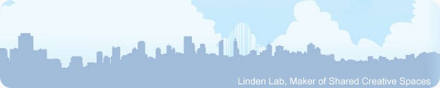 A city skyline, bearing the words 'Linden Lab, Maker of Shared Creative Spaces'