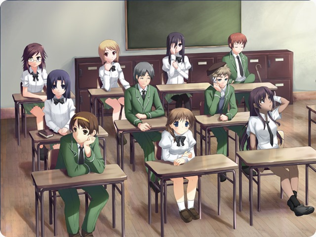 A group of school students at simple wooden desks