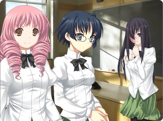 A smiling female high-school student with dyed pink hair stands next to a more serious female student with black hair and glasses. In the background, another female student stands pensively, partly concealing extensive scarring with her long, brunette tresses